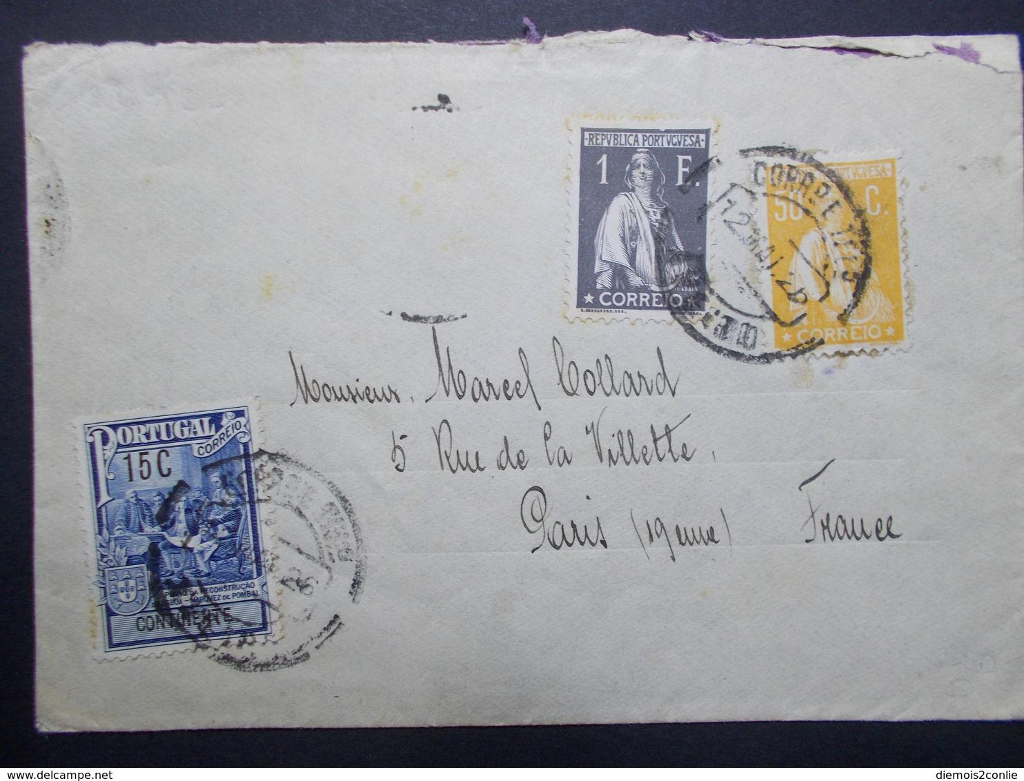 Marcophilie  Cachet Lettre Obliteration - Timbres - PORTUGAL - 1926 - (2370) - Marcofilia