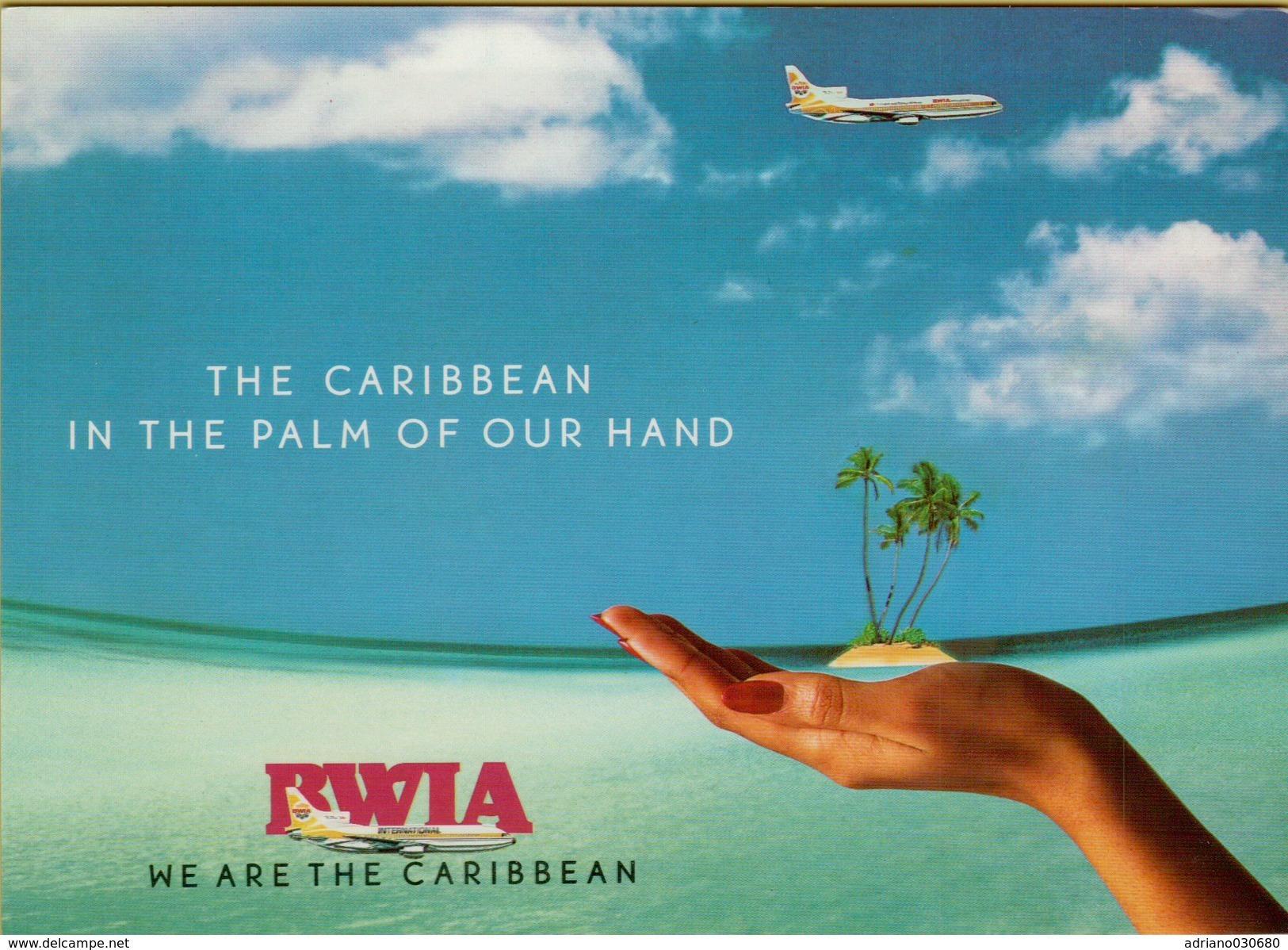 142633 AEREO AIRPLANE  CARTOLINA FUORI MISURA CM 17 X 12 LINEA AEREA BWIA THE CARIBBEAN IN THE PLAM OF OUR HAND - 1946-....: Era Moderna