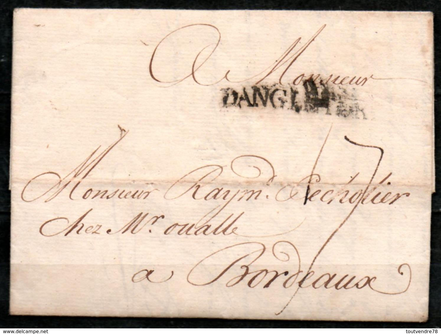 MP33-11 : D'Angleterre 1756 Pour Bordeaux Dept 33 (Gironde) Taxe Manuscrite 17 - Marcophilie (Lettres)