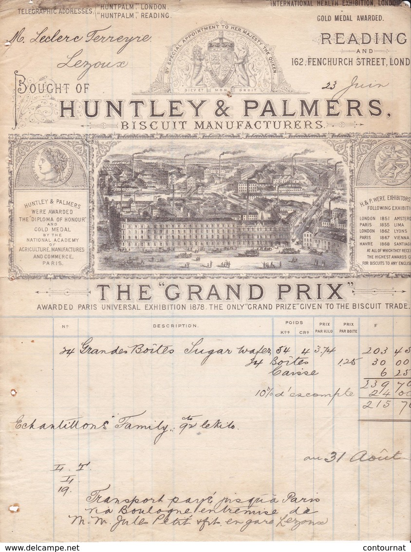 LONDRES London FACTURE 1897 Biscuits HUNTLEY & PALMERS    X33 - Royaume-Uni