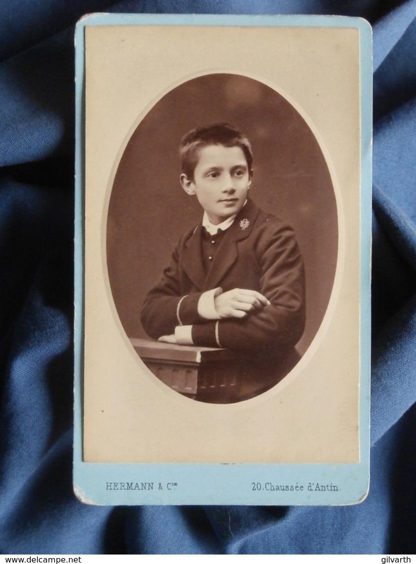 Photo CDV  Hermann à Paris  Portrait écolier En Uniforme  CA 1885 - L436G - Photos