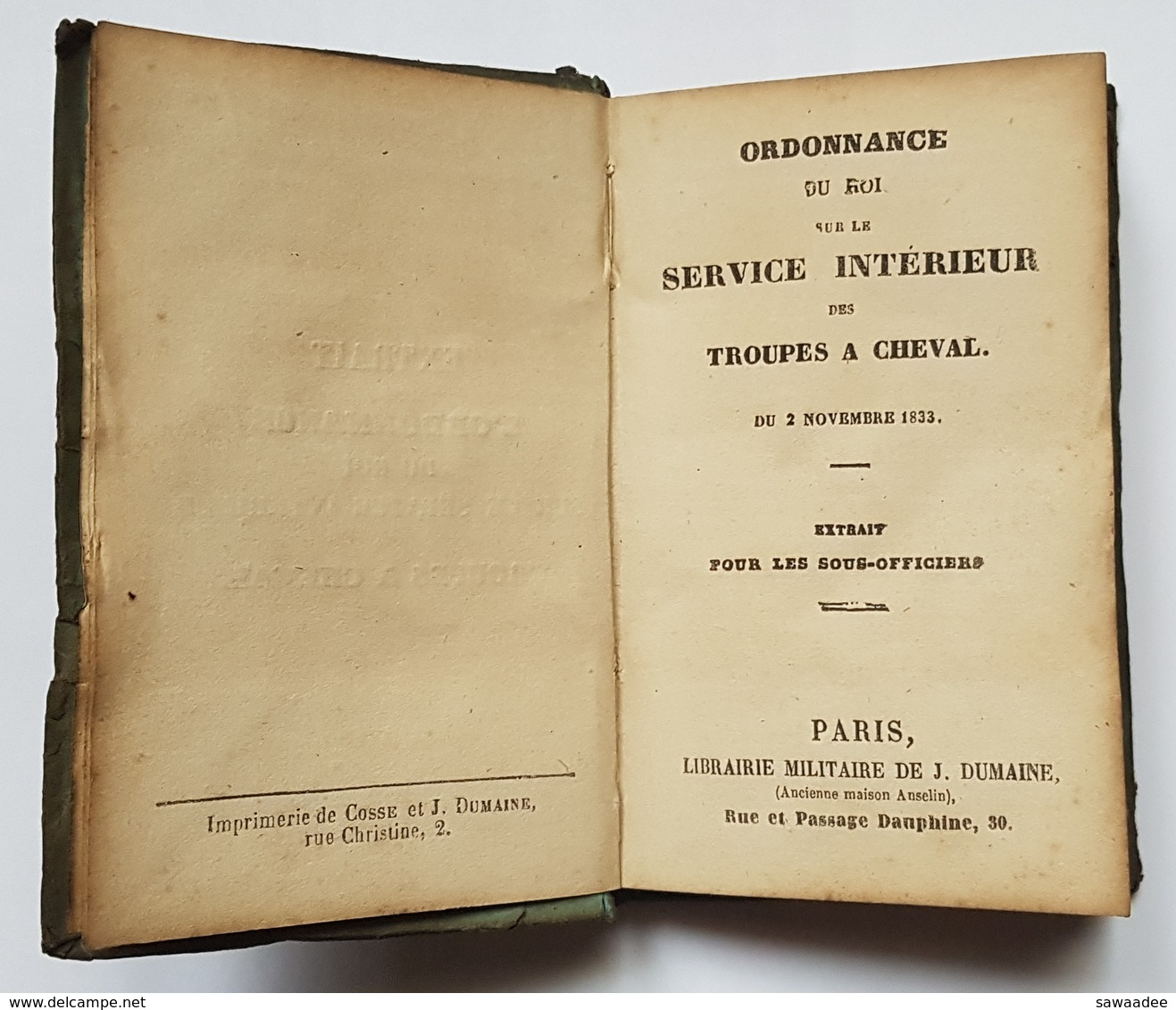 LIVRE - EXTRAIT DE L'ORDONNANCE DU ROI SUR LE SERVICE INTERIEUR DES TROUPES A CHEVAL - POUR LES SOUS OFFICIERS - Livres