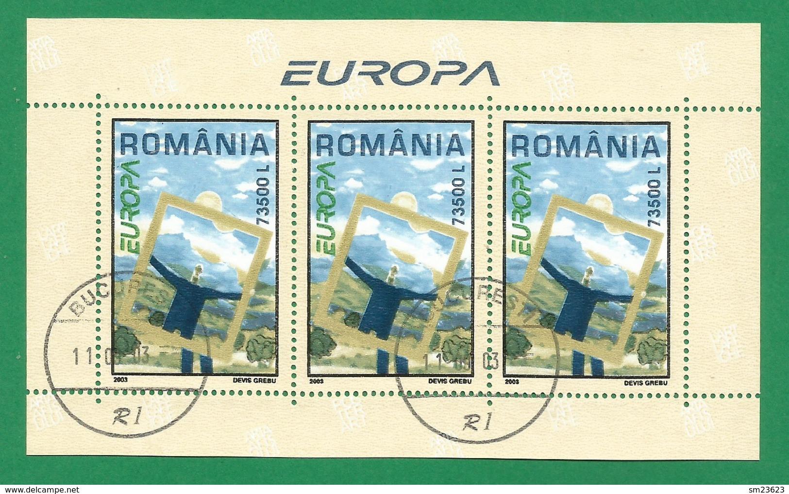 Rumänien / Romania  2003   Mi.Nr. Block 331 (5736) , EUROPA CEPT -  Plakatkunst - Gestempelt / Fine Used / (o) - Europa-CEPT