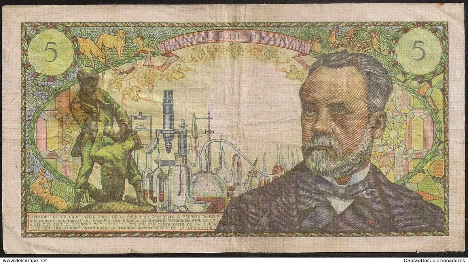 Banknote France Pasteur - 5 Francs - 5-5-1967 J - Cinq Francs - BC - 5 F 1966-1970 ''Pasteur''