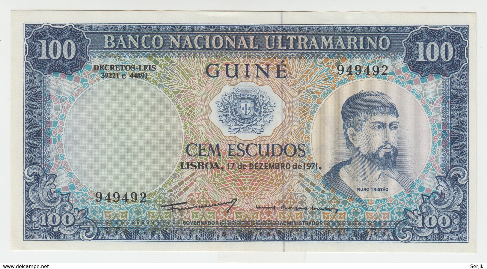 Portuguese Guinea 100 Escudos 1971 AUNC Pick 45 - Guinea