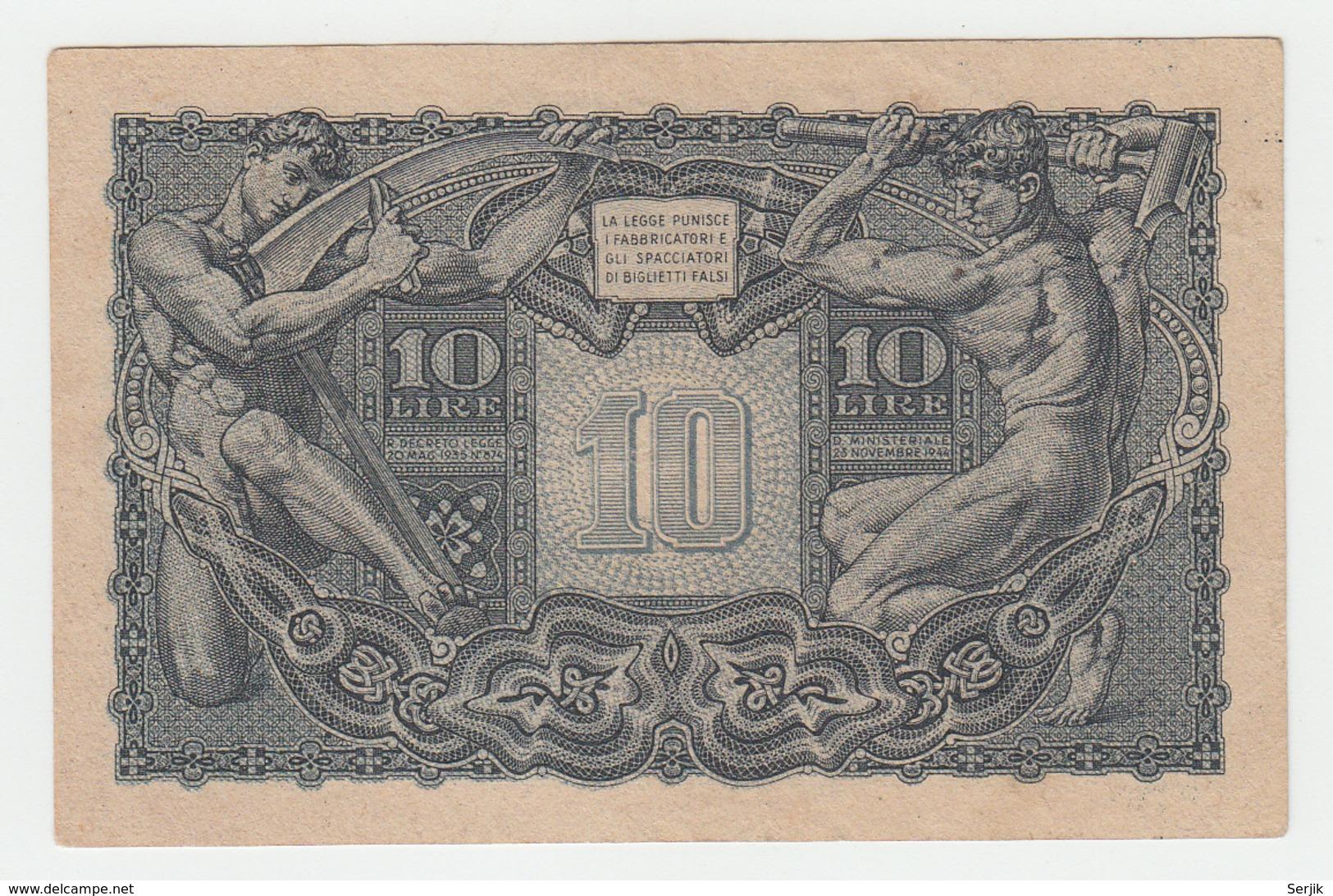 Italy 10 Lire 1944 VF++ Pick 32a 32 A - [ 1] …-1946 : Kingdom