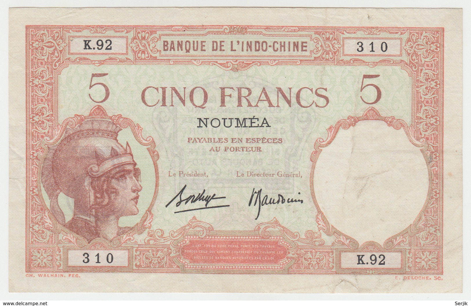 New Caledonia Noumea 5 Francs 1926 VF P 36b 36 B - Nouméa (New Caledonia 1873-1985)