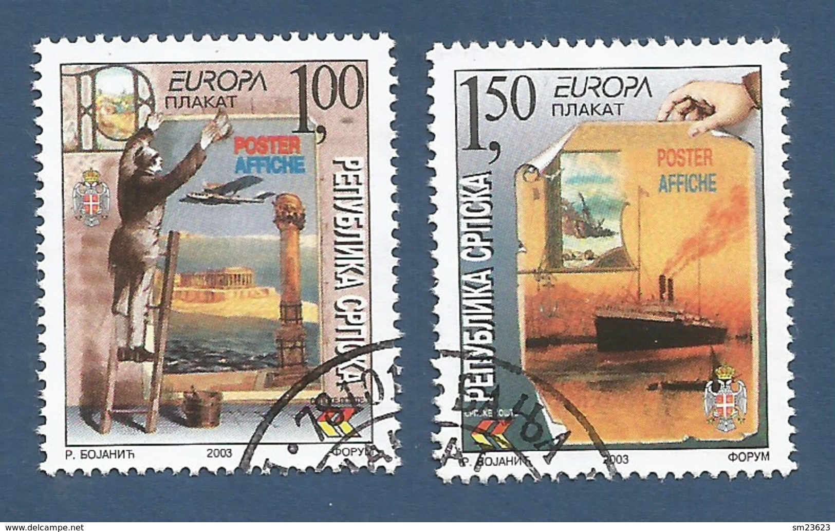 Bosnien Herzegowina Serbische Rep 2003   Mi.Nr. 271 / 272 A , EUROPA CEPT - Plakatkunst - Gestempelt / Fine Used / (o) - 2003