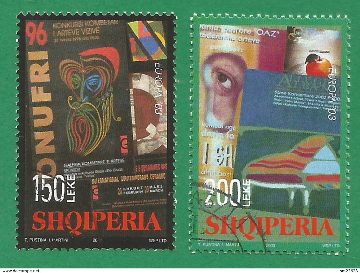 Albanien  2003   Mi.Nr. 2928 / 2929 , EUROPA CEPT  Plakatkunst - Gestempelt / Fine Used / (o) - Europa-CEPT