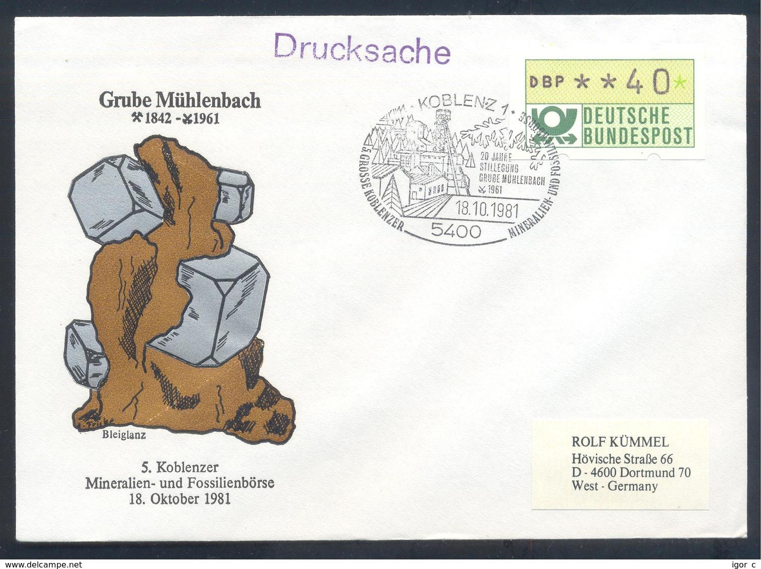 Germany 1981 Cover:  Minerals Mineralien Mineraux;; Fossils Fossilien; Börse Koblenz; Bleiglanz - Grube Mühlenbach - Mineralien