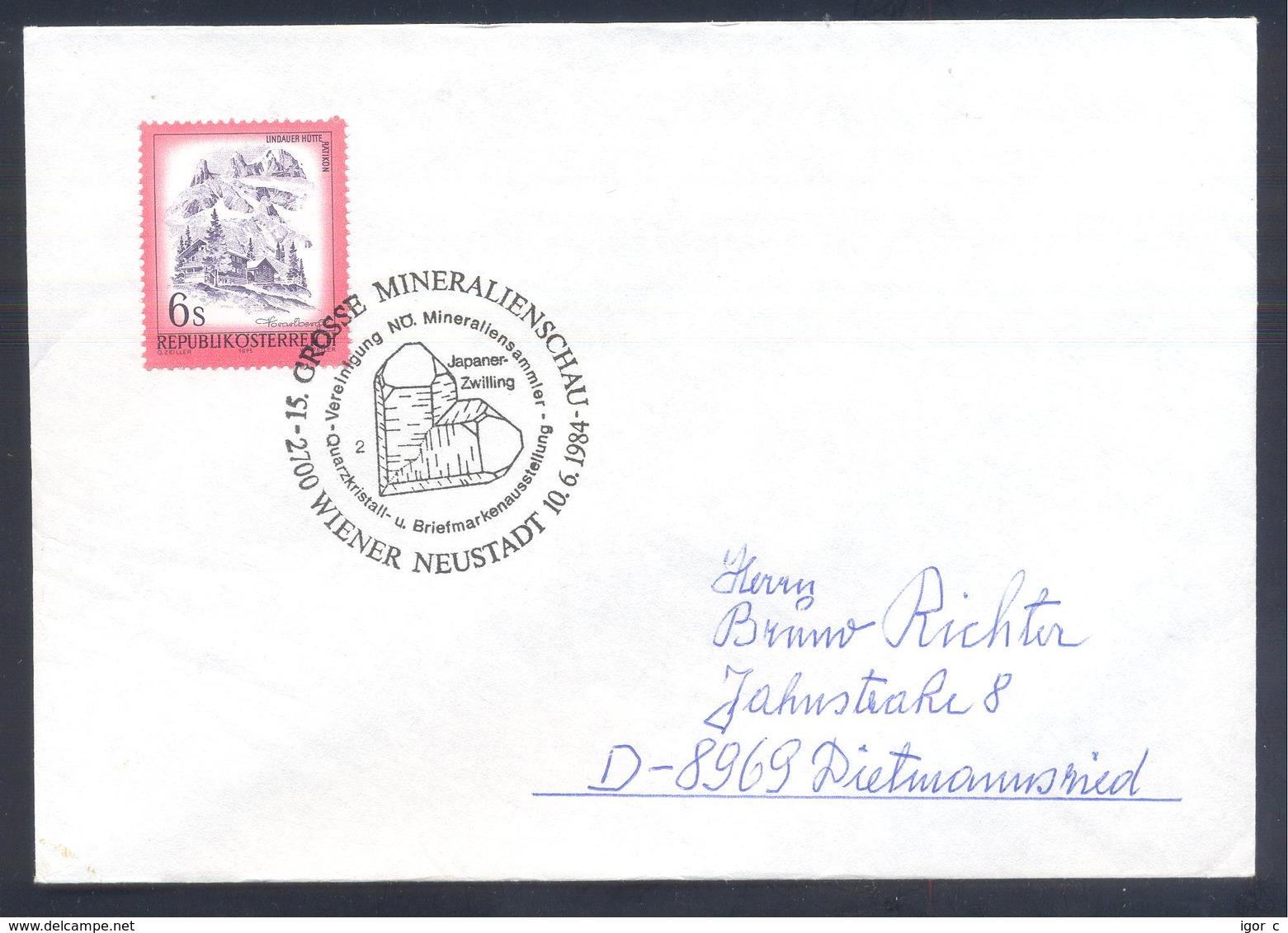 Austria 1986 Cover: Minerals Mineralien Mineraux;; Fossils Fossilien; Mineralien Schau Wiener Neustadt; Japaner Zwilling - Mineralien
