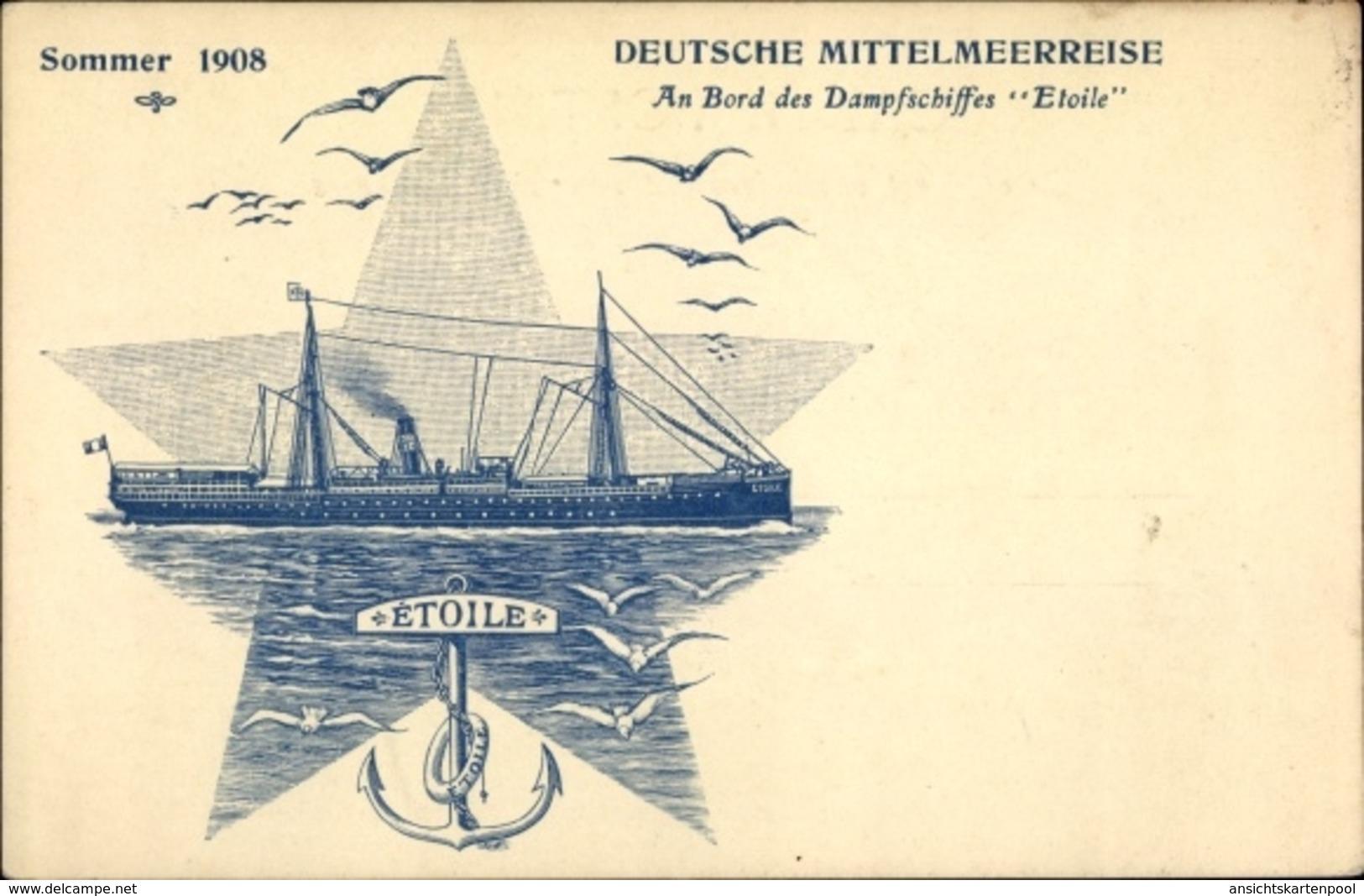 Artiste Cp Deutsche Mittelmeerreise, Dampfschiff Etoile - Bateaux