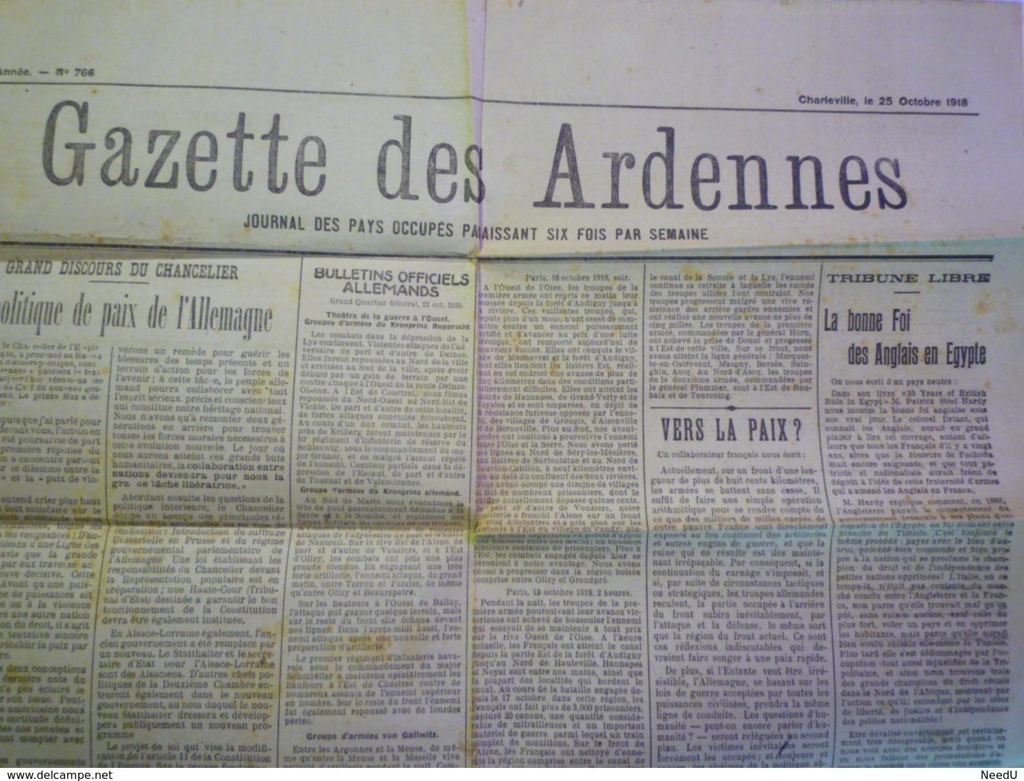GP 2019 - 1039  GAZETTE Des ARDENNES Du 25 OCT 1918  (Charleville)   XXXX - Vieux Papiers