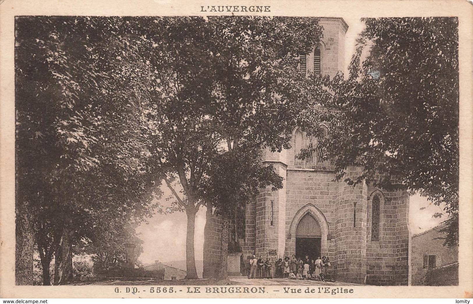 63 Le Brugeron Vue De L' Eglise Cpa Carte Animée Cachet 1946 - Frankreich
