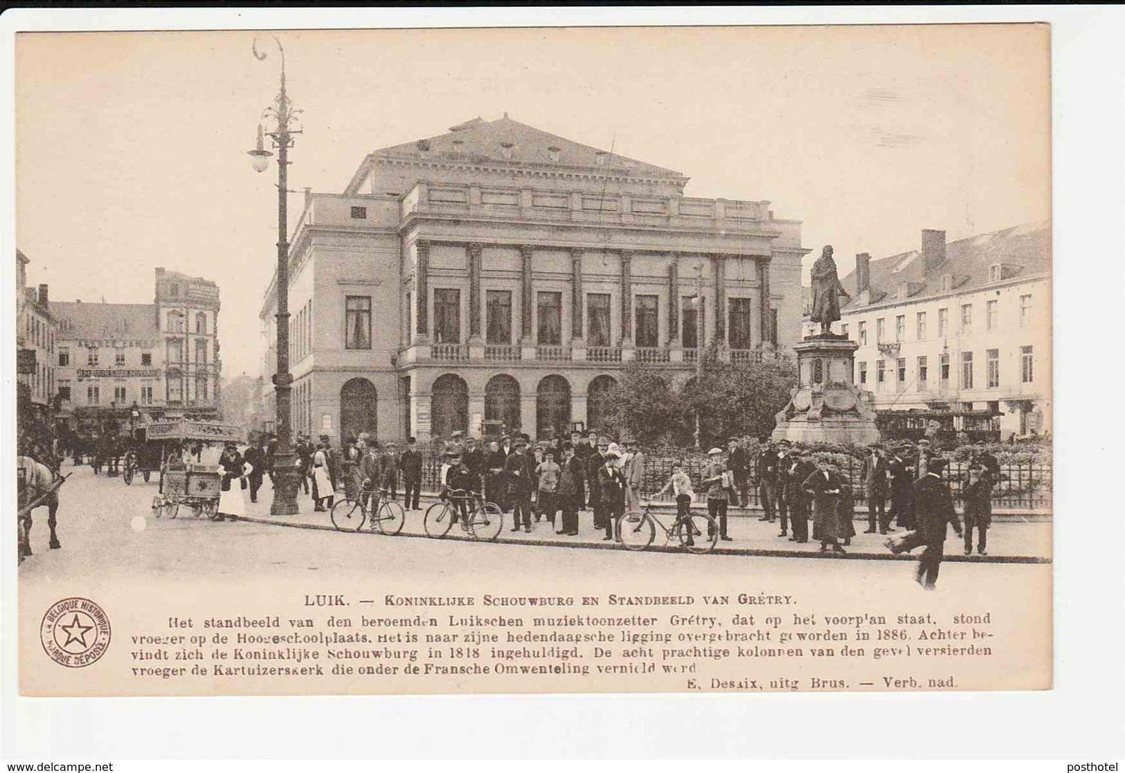 Luik - Koninklijke Schouwburg En Standbeeld Van Gretry - Eerekaart Gemeente Ledeberg - Lüttich