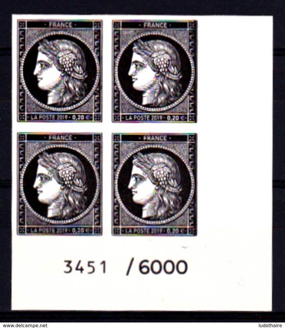 Cérès Bloc De 4 X 0.20 € Coin Avec N° De Feuille Non Dentelé, 170 Ans Du Premier Timbre De France 1849/2019 - France