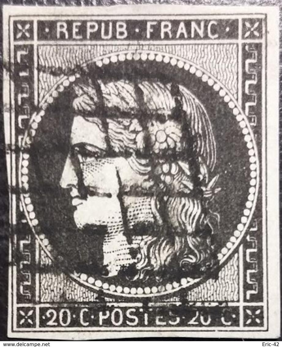FRANCE Y&T N°3a Cérès 20c Noir Sur Blanc Oblitéré Grille - 1849-1850 Ceres