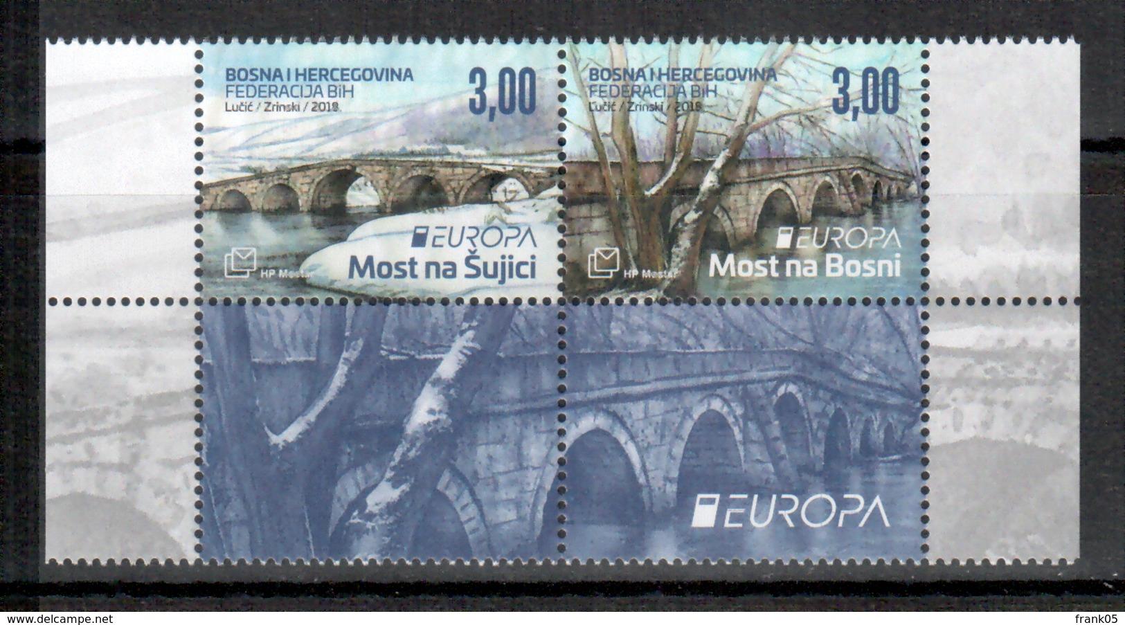 Bosnien-Herzegowina (kroatisch) / Bosnia (croatian) / Bosnie-Herzégovine Mostar Paar Mit Zierfeld/pair 2018 EUROPA ** - 2018