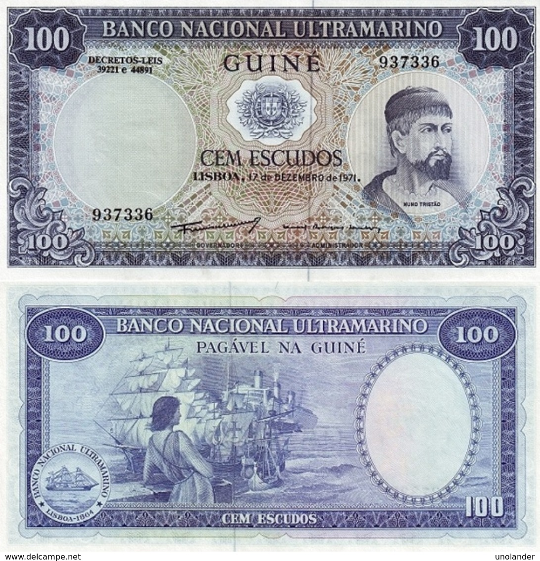 PORTUGAL Portuguese Guinea Guinea Bisau 100 Escudos 1971 P 45 UNC - Guinea