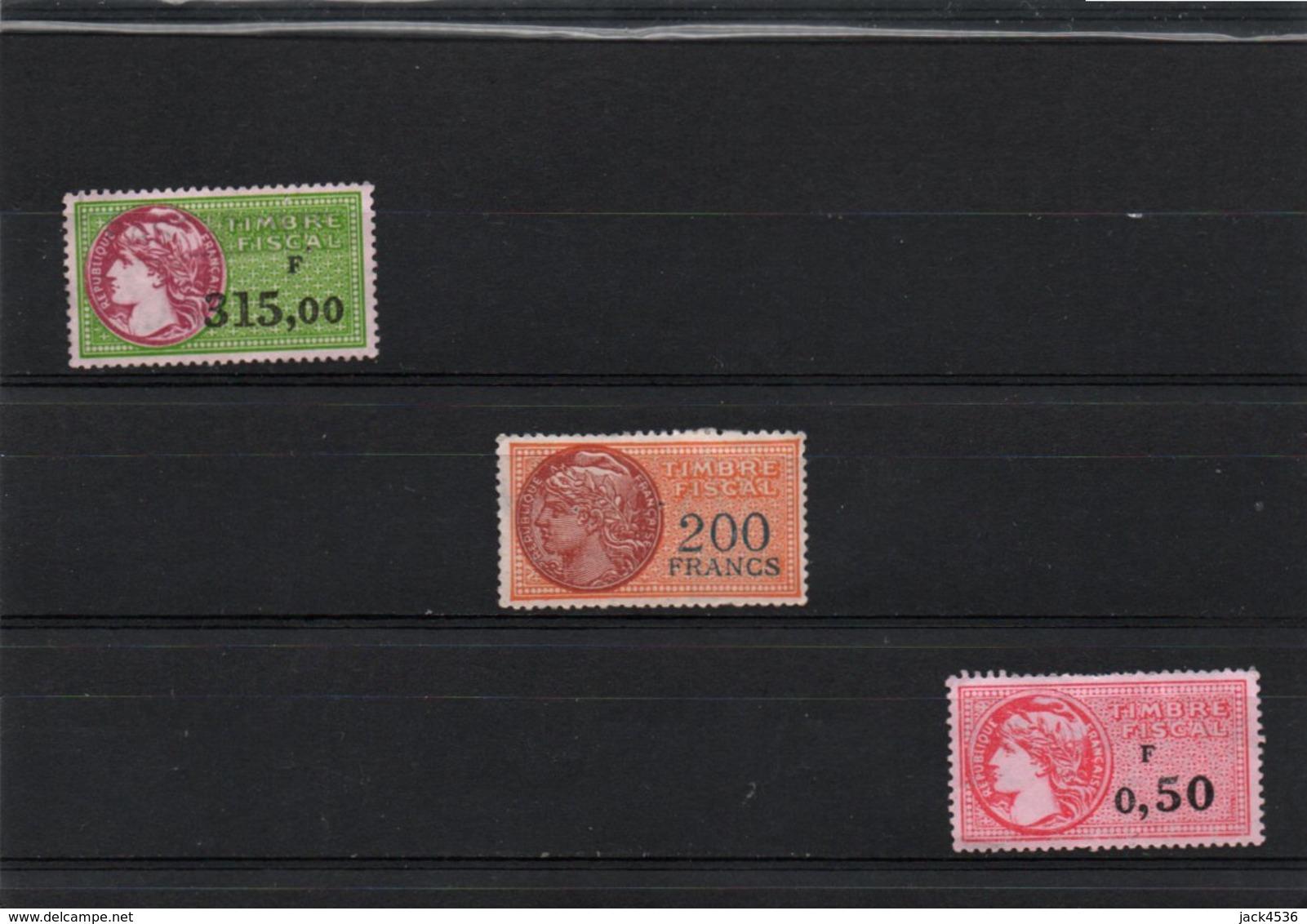 Lot De 3 Timbres Fiscaux Neuf * - Défauts De Gomme - - Revenue Stamps