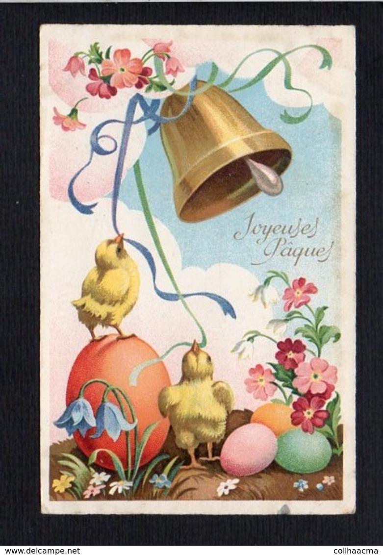 Fête Voeux  / Joyeuses,Heureuses Pâques / Poussins,cloche,oeufs - Pâques
