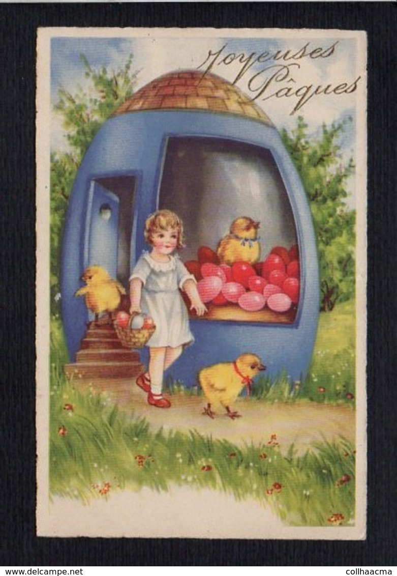 Fête Voeux  / Joyeuses,Heureuses Pâques / Poussins,fillette,oeufs / Dessin Non Signé - Pâques