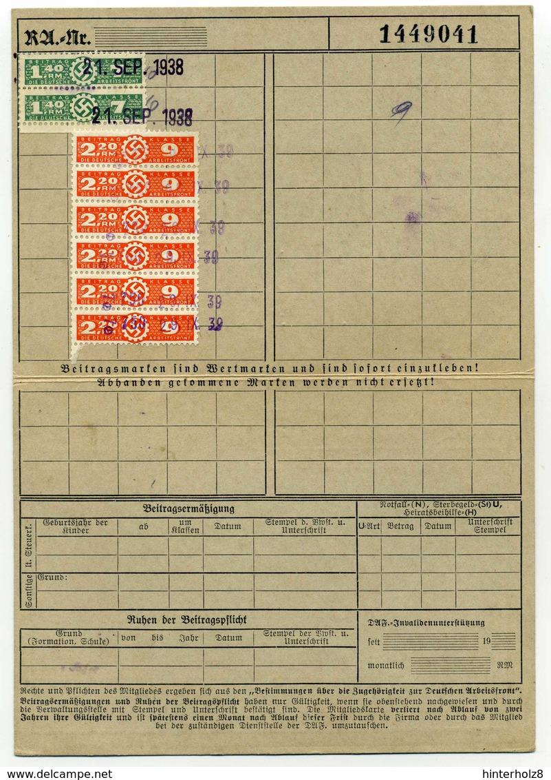 Ostmark; Mitgliedskarte Der Deutschen Arbeitsfront; Gau Wien, 1938 - Documents