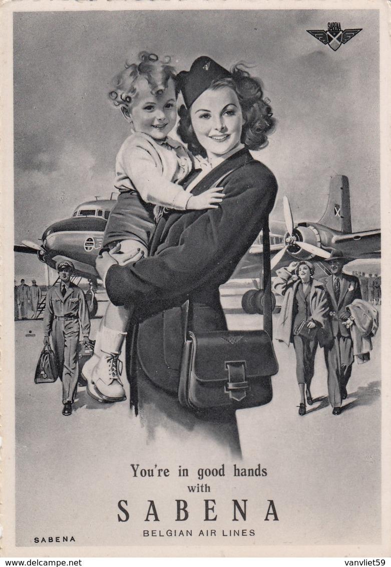 AEROPLANO AIRPLANE AVION FLUEZEUG-SABENA-BELGIAN AIR LINES-CARTOLINA NON VIAGGIATA -ANNO 1940-1950 - 1946-....: Era Moderna