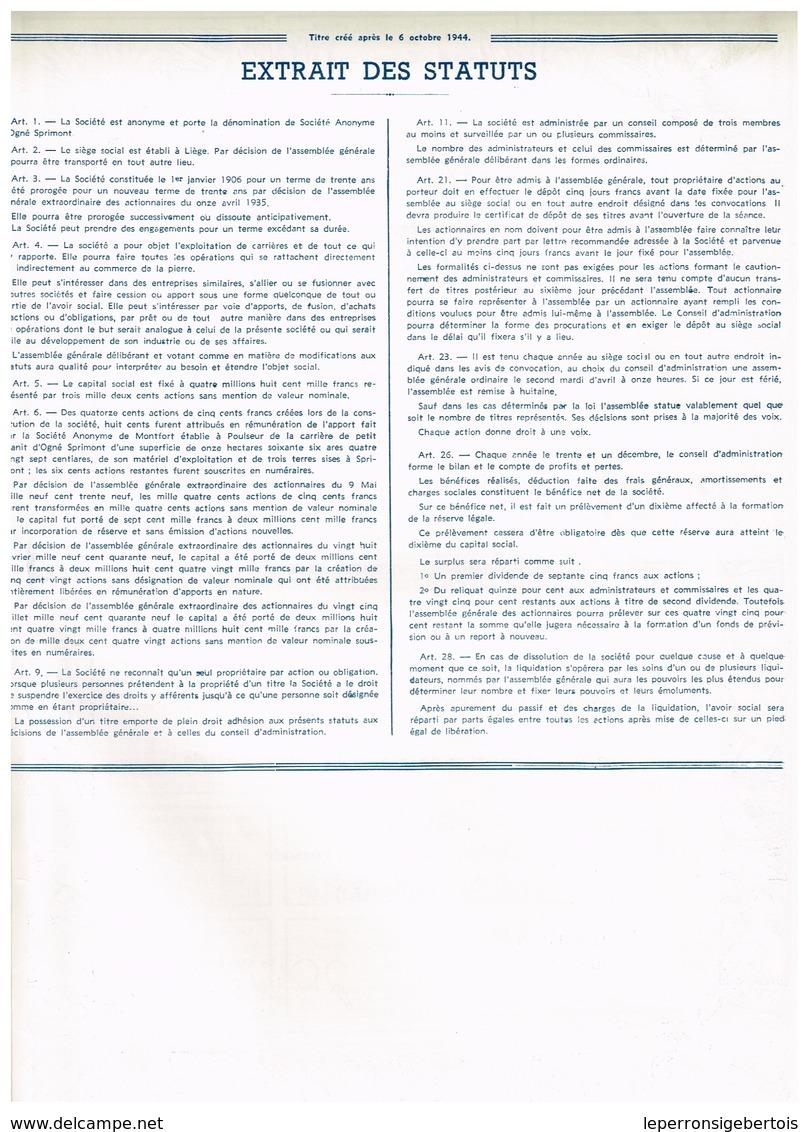 Ancien Titre - Société Anonyme D'Ogné-Sprimont - Titre De 1949 - - Mines