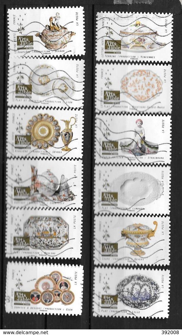 2018 - 197 - 1528 à 1539 - Les Arts De La Table, Porcelaine Et Faïence - Oblitérés