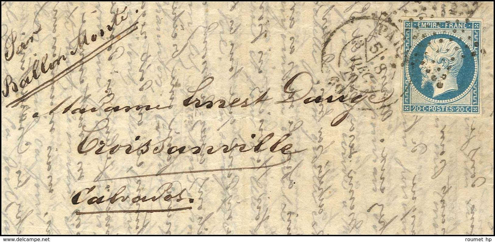 Etoile / N° 14 Type II Càd PARIS (60) (section De Levée) 8 DEC. 70 Sur Lettre Pour Croissanville (13), Au Verso Càd De P - Marcofilia (sobres)