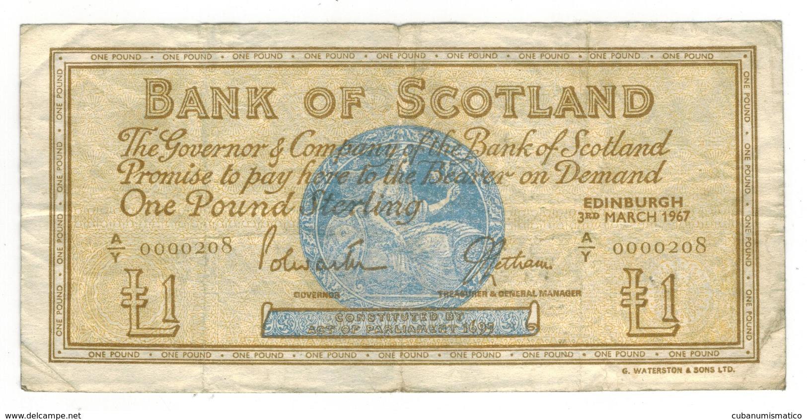1967 Issue Bank Of Scotland 1 Pound Note - F - KM# 105b - Fine - Ecosse