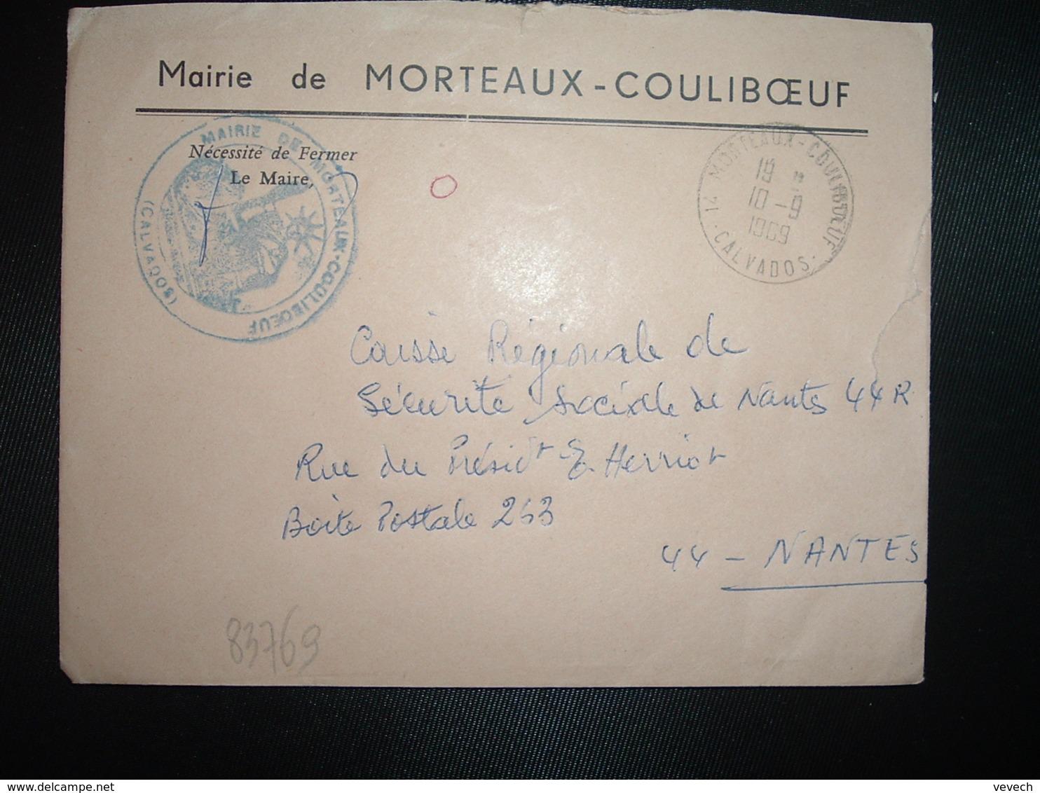 LETTRE MAIRIE OBL.10-9 1969 14 MORTEAUX COULIBOEUF CALVADOS - Marcophilie (Lettres)