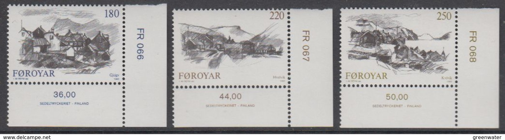 Faroe Islands 1982 Villages 3v (corners) ** Mnh (42573A) - Faeroër