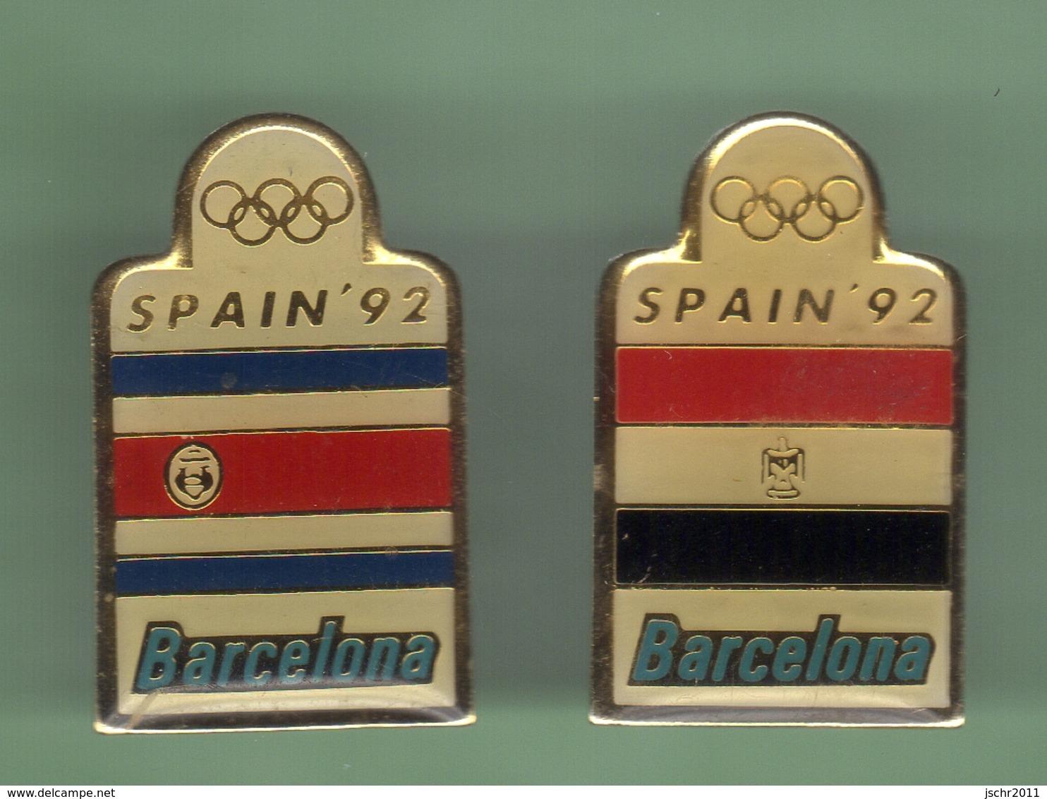 JO BARCELONA 92 *** DRAPEAU *** Lot De 2 Pin's Differents *** 1002 - Giochi Olimpici
