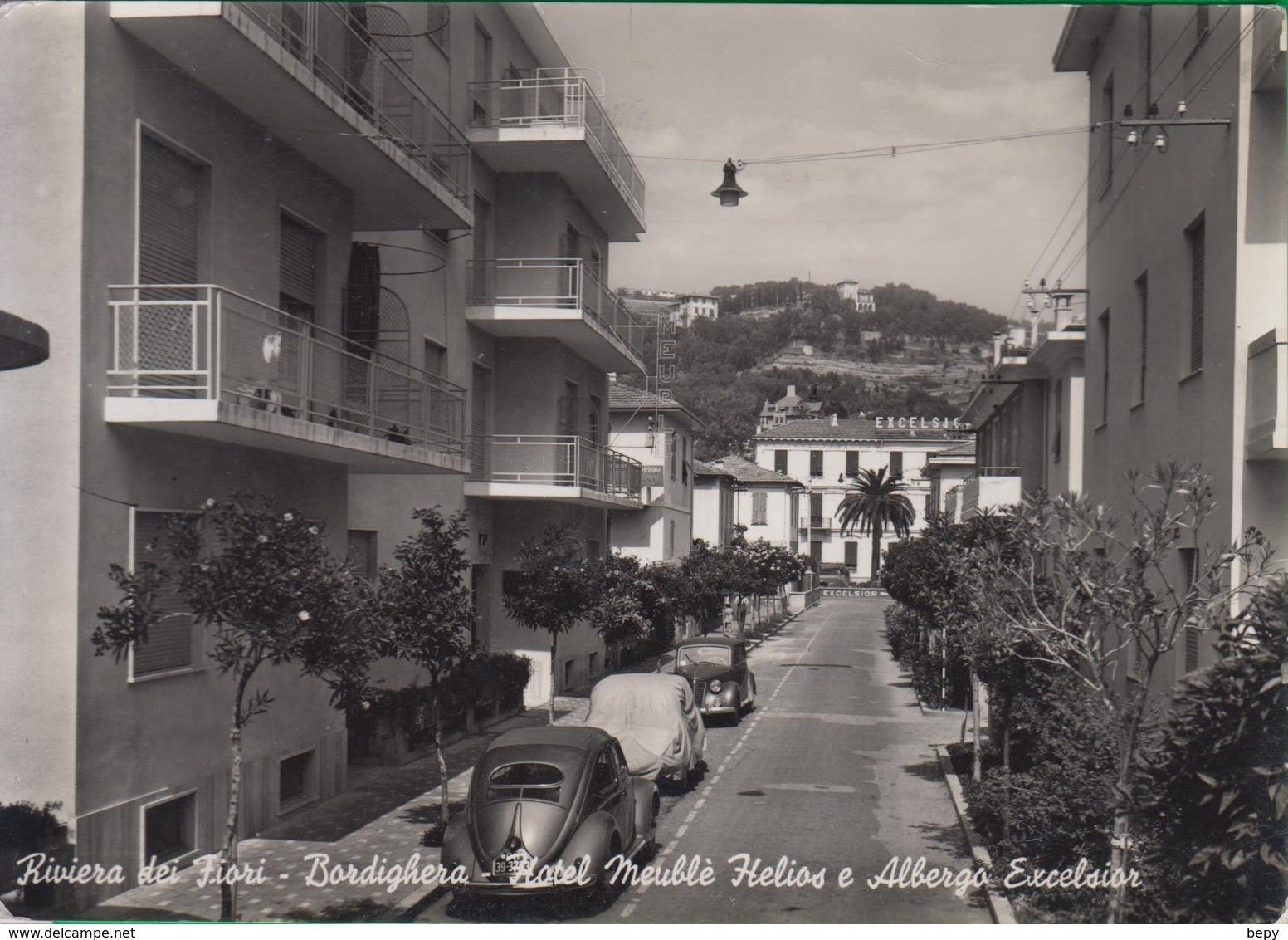 BORDIGHERA. Riviera Dei Fiori. Hotel Meublè Helios. Abergo Excelsion. Bar. Macchina. Auto. 354 - Imperia