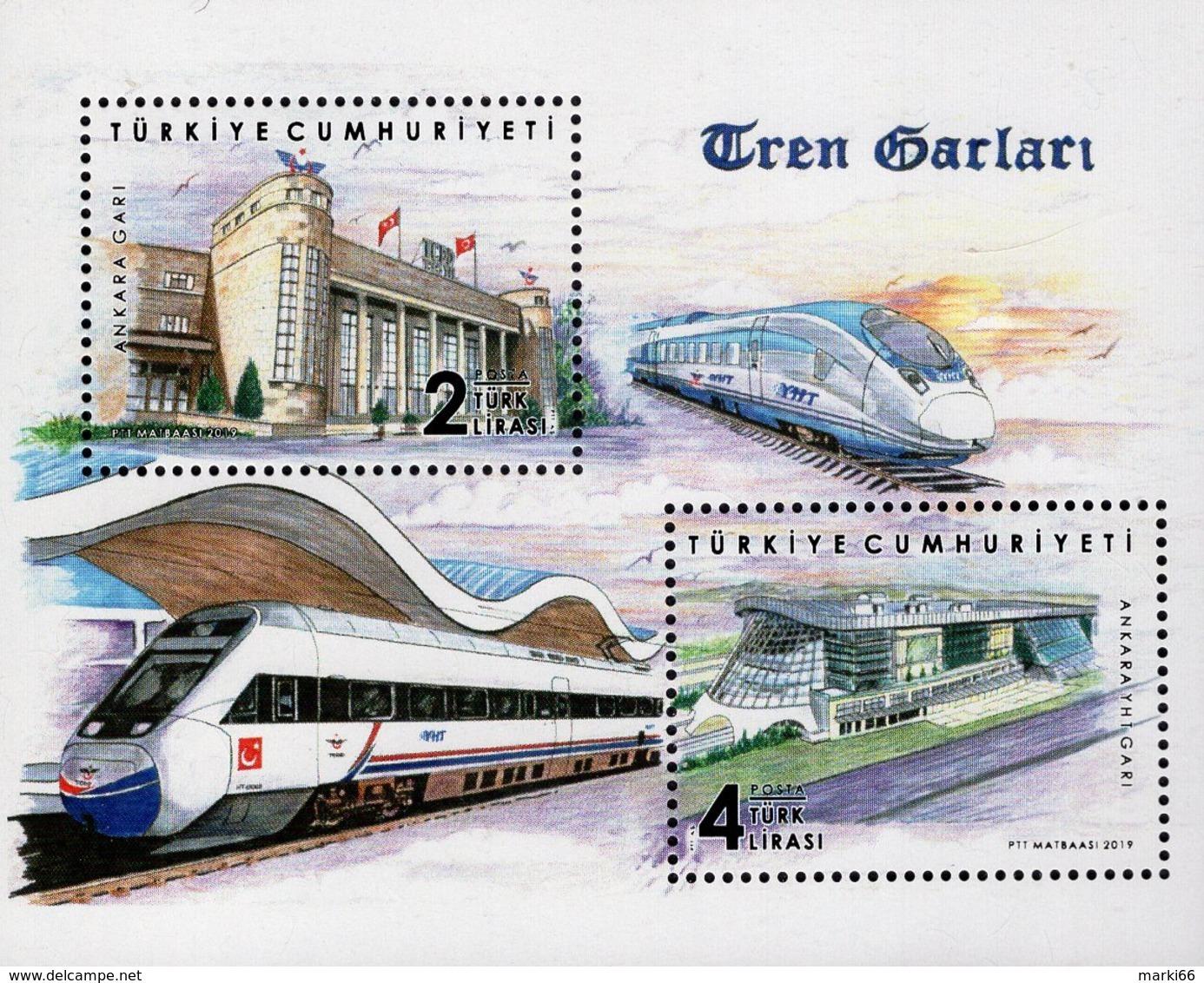 Turkey - 2019 - Train Stations - Mint Souvenir Sheet - 1921-... République