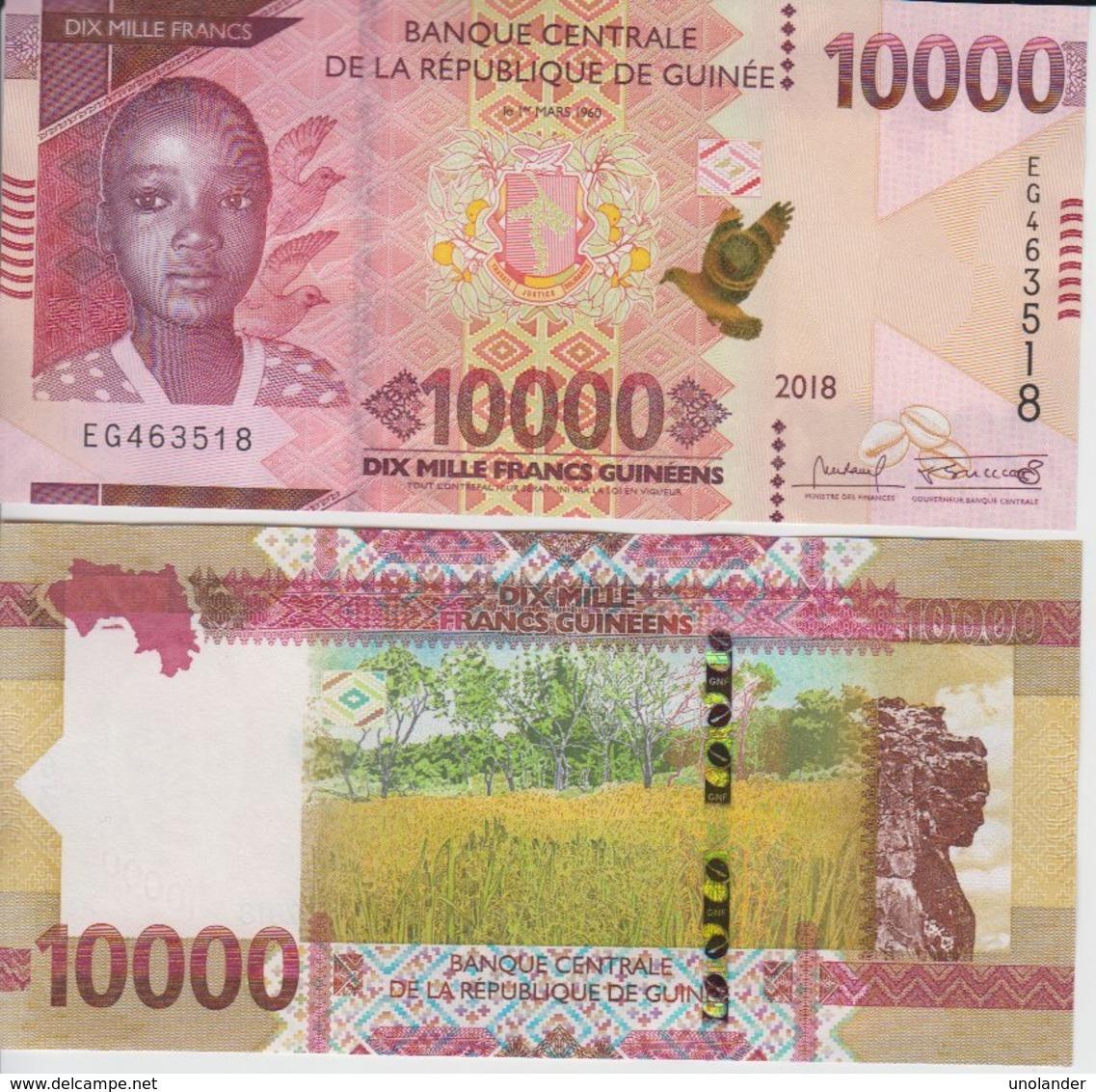 Guinea 10000 Francs 2018 P New UNC - Guinea