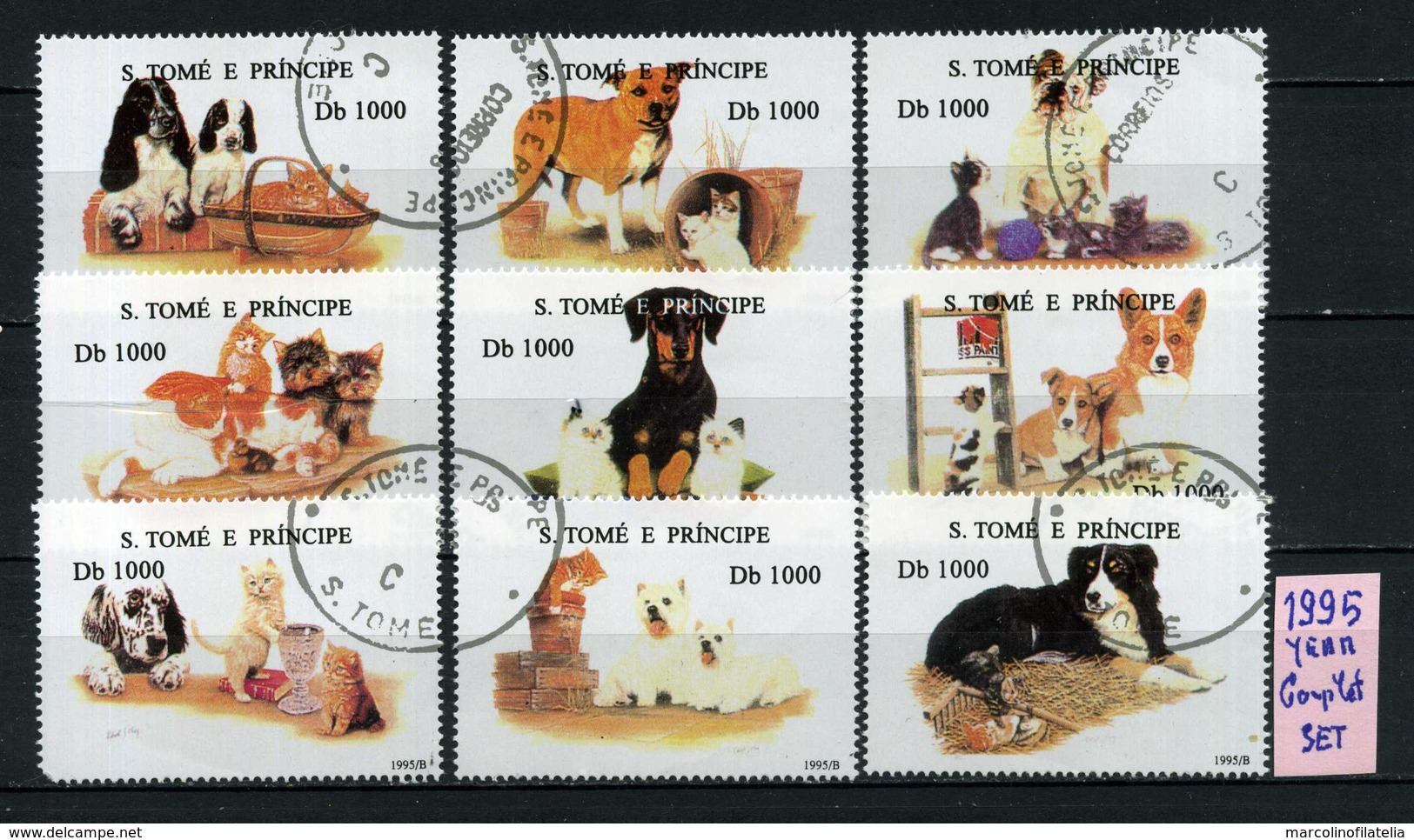 S. TOME' E PRINCIPE  - CANI - DOGS - Year 1995  - COMPLET  SET - Timbrati - Stamped - Affranchiè - Gestempelt. - Cani