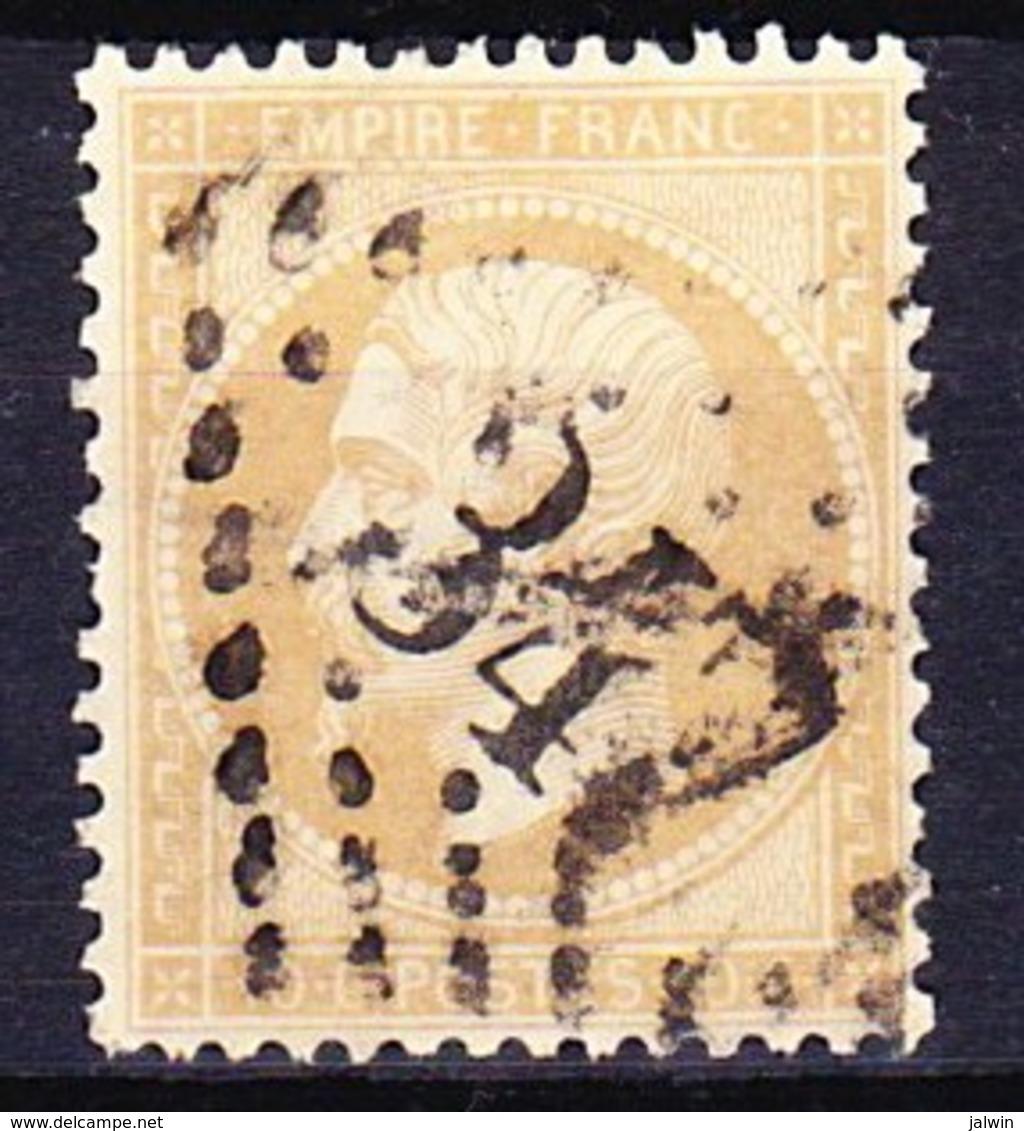 FRANCE NAPOLEON III 1862 YT N° 21 Obl. LOSANGE GC 347 LES BATIGNOLES - 1862 Napoléon III