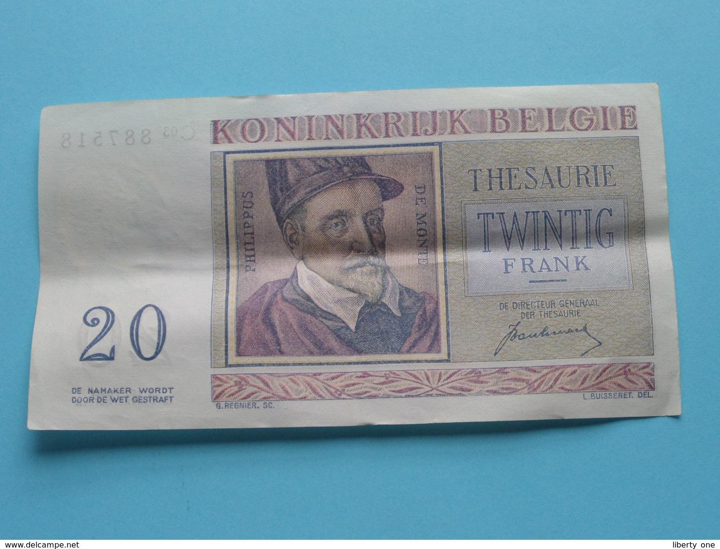 VINGT Francs TWINTIG Frank : C03 887518 ( Thesaurie / Trésorerie - Philippus De Monte ) 01-07-50 > Belgique/België ! - [ 6] Treasury