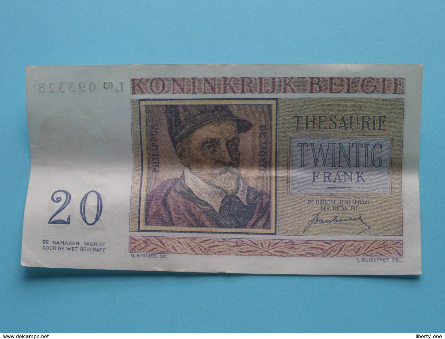 VINGT Francs TWINTIG Frank : L03 093328 ( Thesaurie / Trésorerie - Philippus De Monte ) 01-07-50 > Belgique/België ! - 20 Francs