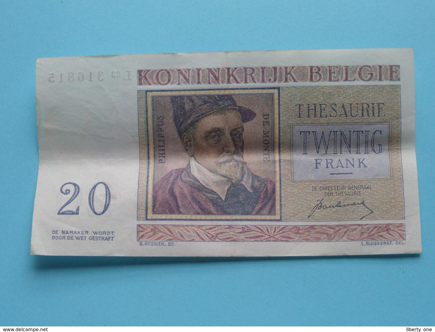VINGT Francs TWINTIG Frank : L03 316815 ( Thesaurie / Trésorerie - Philippus De Monte ) 01-07-50 > Belgique/België ! - 20 Francs