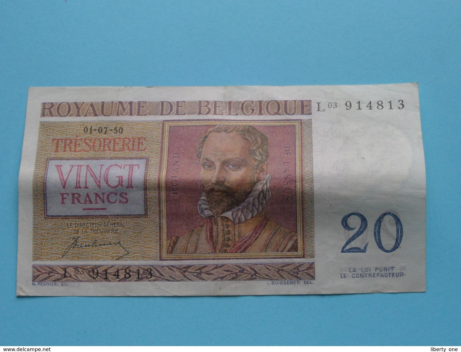 VINGT Francs TWINTIG Frank : L03 914813 ( Thesaurie / Trésorerie - Philippus De Monte ) 01-07-50 > Belgique/België ! - [ 6] Schatzamt