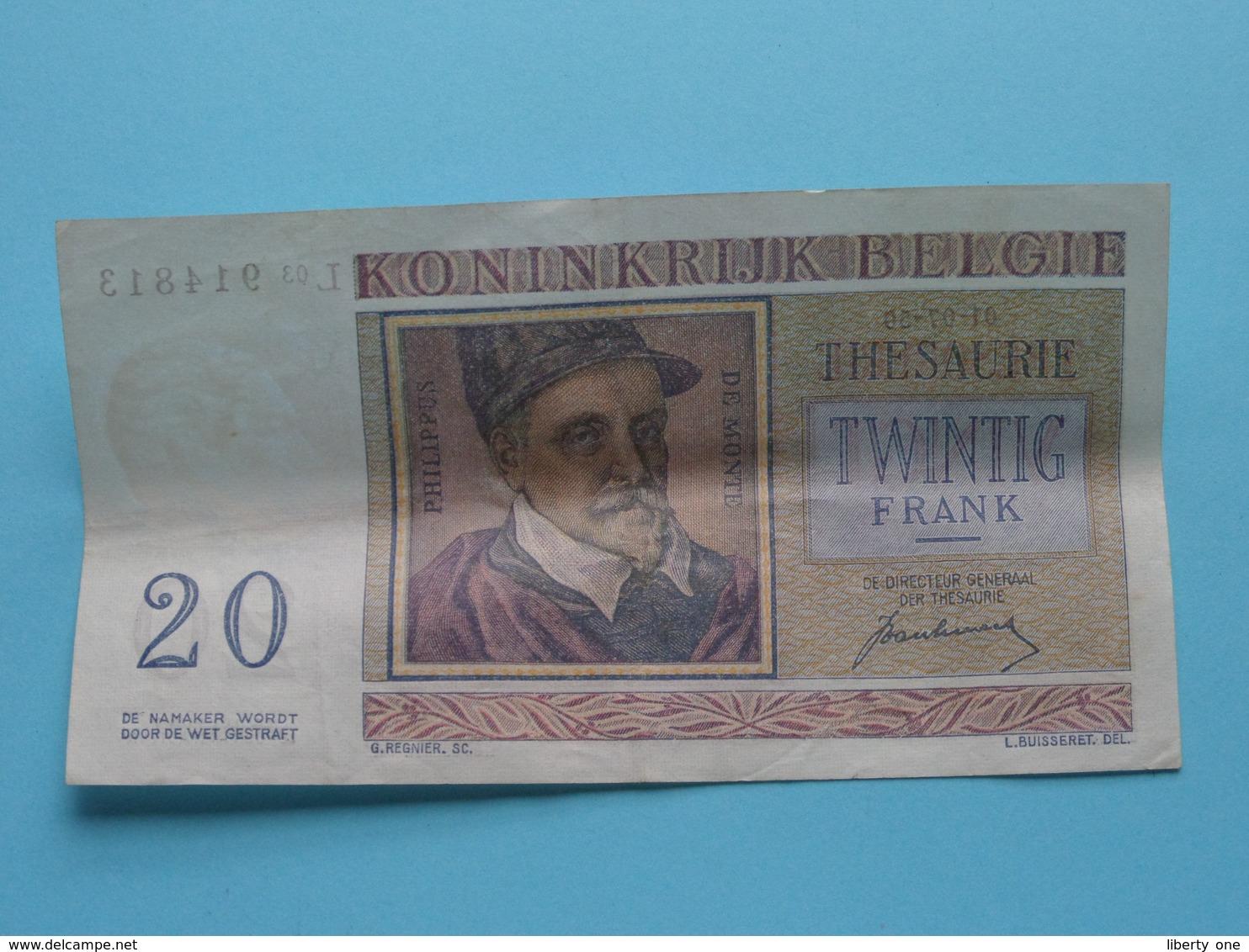 VINGT Francs TWINTIG Frank : L03 914813 ( Thesaurie / Trésorerie - Philippus De Monte ) 01-07-50 > Belgique/België ! - [ 6] Staatskas