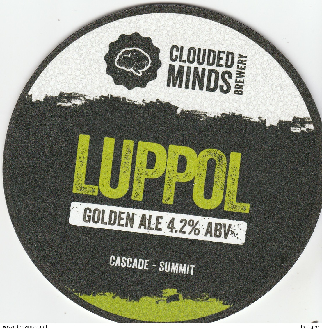 COOUDED MINDS BREWERY  (LOWER BRAILES, ENGLAND) - LUPPOL GOLDEN ALE - PUMP CLIP FRONT - Letreros