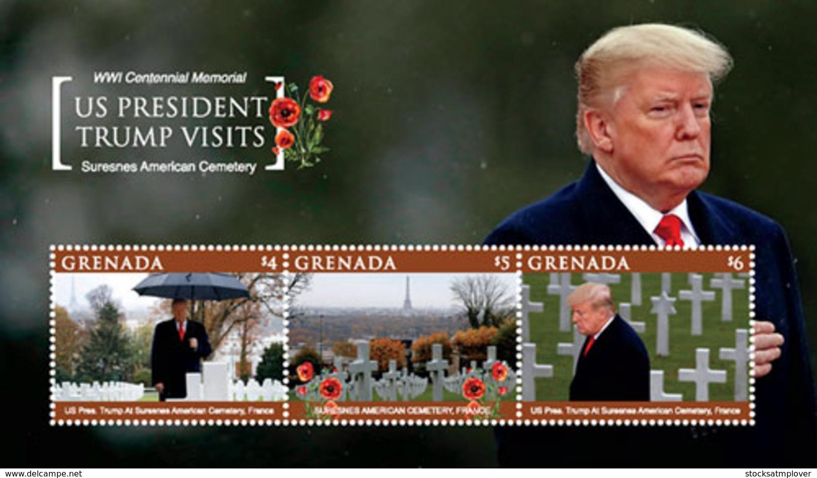 Grenada  2019 U.S. President Trump Visits Suresnes American Cemetery  I201901 - Grenada (1974-...)