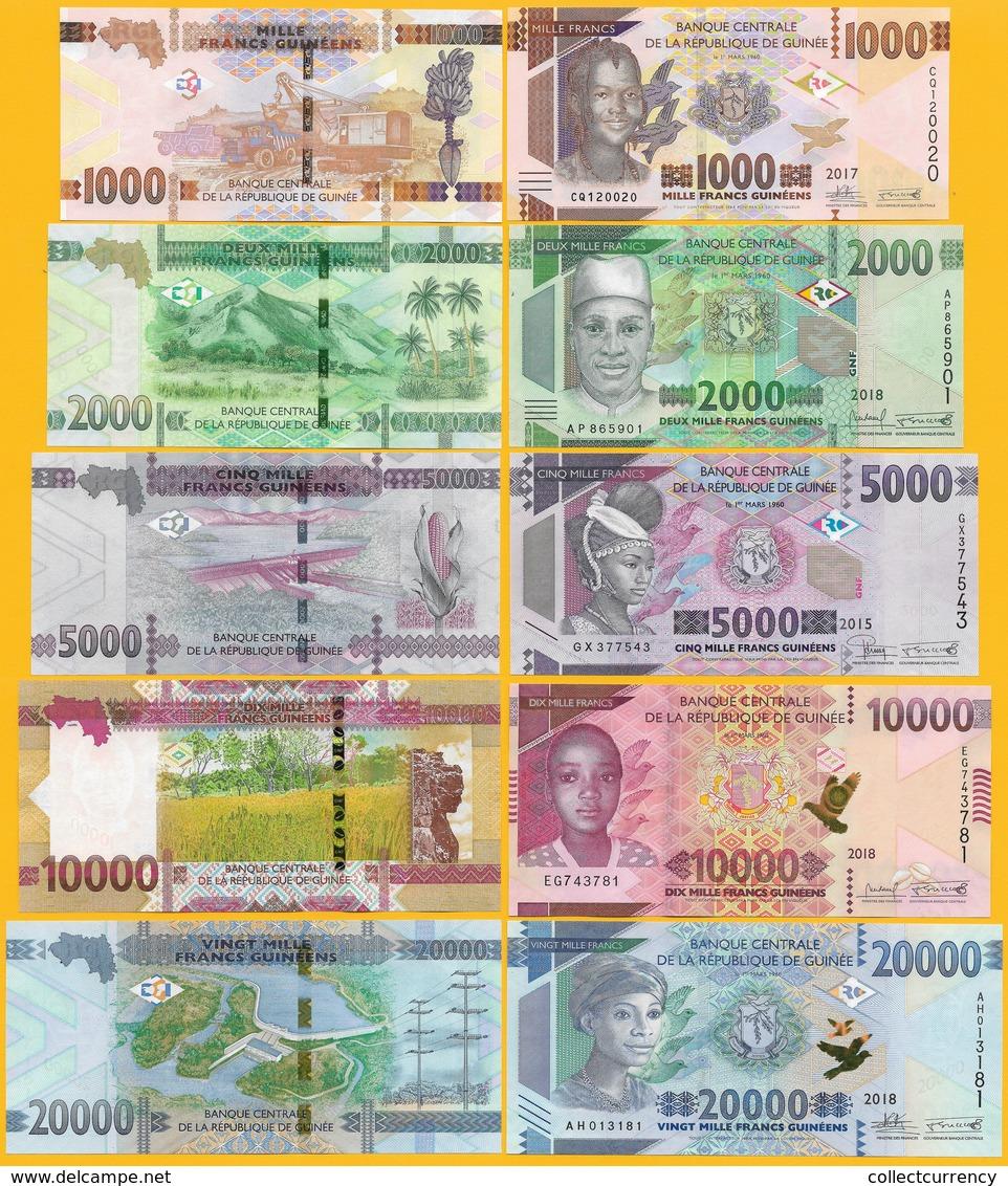 Guinea Set 1000 2000 5000 10000 20000 Francs 2015-2018 UNC Banknotes - Guinea