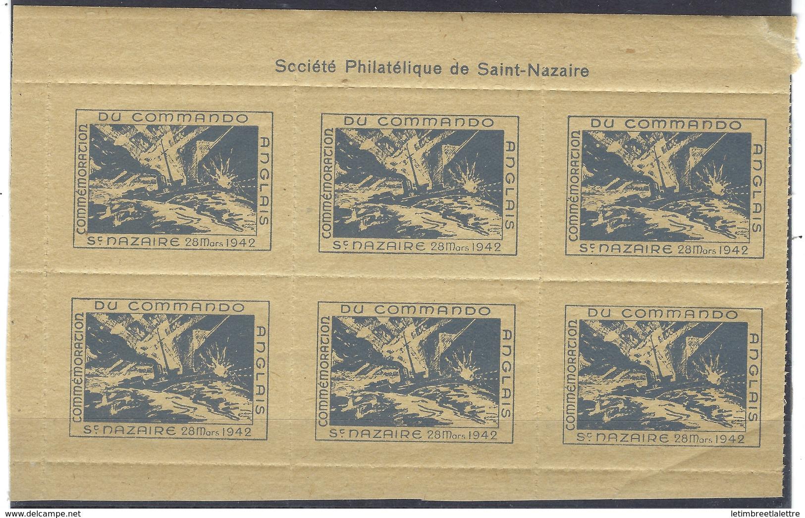 France, Libération, Vignettes Commémoratives Du Commando Anglais à Saint Nazaire Le 28 Mars 1942 ** - Libération