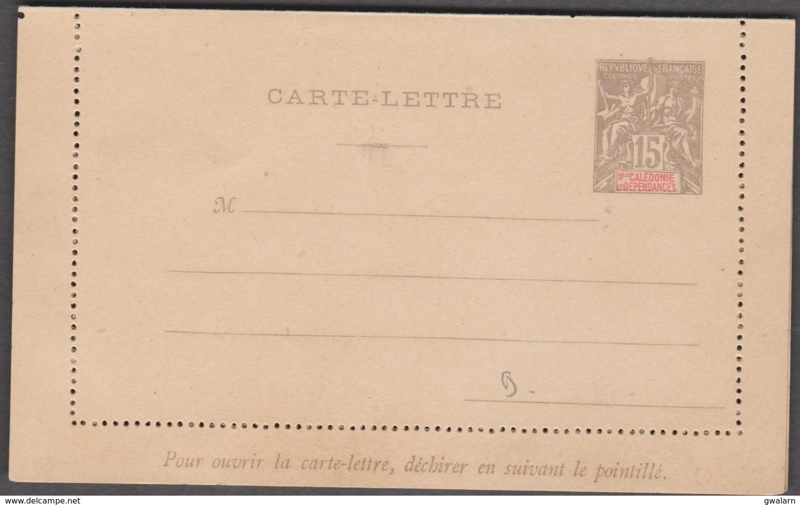 NOUVELLE CALEDONIE 1 Entier Postal Neuf YT 21-CL Carte Lettre Timbre émissions Coloniales De1900 15c Gris - Entiers Postaux